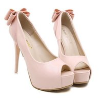 Wholesale Bow Pink Peep Toe - Korea style sexy stitching color bowknot fish mouth high heels waterproof taiwan dress shoes evening party bridal wedding shoes yzs168