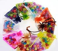 sacos de linho cordão floral venda por atacado-Cores 7 * 9 cm Malha Organza Sacos de Presente Da Bagagem de Presente Da Festa de Casamento Da Jóia de Natal sacos de cordão doce pacote de sacos de 240197