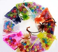 xmas cüppesi hediye çantası toptan satış-Renkler 7 * 9 cm örgü Organze Çanta Takı Hediye Kılıfı Düğün Parti Noel Hediye şeker İpli çanta paketi çanta 240197