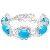 Wholesale Snake Eggs - 925 Sterling Silver Plated Jewelry New egg shaped Bracelet inlaid with turquoise jewelry trade spot