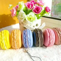 1pc Kawaii Soft Dessert Macaron Squishy Carino cellulare Charms Key cinghie Colore casuale