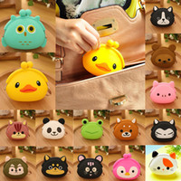 2015 Nouvelle Mode Lovely Kawaii Candy Couleur Cartoon Animal Femmes Portefeuille Multicolor Jelly Silicone Coin Bag Purse Kid Gift