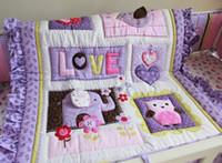 кроватки юбки бамперы оптовых-8 шт. детское постельное белье набор фиолетовый 3D вышивка слон сова детские постельных принадлежностей шпаргалки комплект 100% хлопок постельное юбка бампера одеяло и т. д. детская кроватка постельное белье