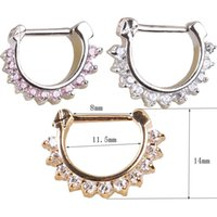 Wholesale Wholesale Septum Rings - nose clicker body piercing jewelry Gold Pink Clear Nose Ring plating nose septum