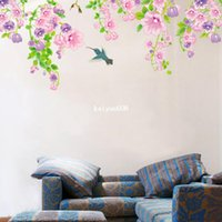 mural arts flor venda por atacado-Venda quente! 1 Peça Romântico Petunia Flower Wall Sticker Mural Art Decor Vinil Removível Decal Home Decor Sala de estar 130 * 60 cm