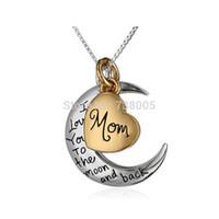 украшения для дня матери оптовых-2015 мода Я люблю тебя на Луну и обратно ожерелье, две части кулон Луна мама ожерелье День матери подарок Оптовая продажа ювелирных изделий