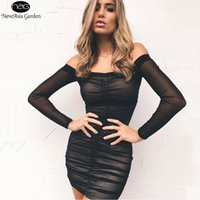 Discount out lift - Wholesale- NewAsia Garden Strapless Off Shoulder Long Sleeve Lift Up Drawstring Ruched Pleated Mesh Women Bodycon Club Party Mini Dress New