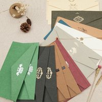 Wholesale Power Kraft - 20Pcs  Lot 11*22cm Classical Gold Stamping Wedding Invation Kraft Paper Envelopes Vintage Paper Envelope For Birthday Greeting