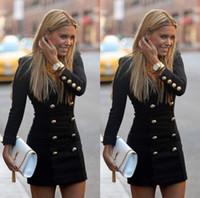 s'habille fashion europe xl achat en gros de-Robe Europe mode jupe crayon de style chaud personnalité mode manches longues boutons boutons mettant le nouveau manteau à double boutonnage v-cou