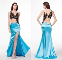 Wholesale Charmeuse Red Evening Dress - Arabic Evening Gowns Dresses Womens Side Split Sexy Light Sky Blue Charmeuse Black Lace Trumpet Beautiful Chinese Night Abiye Gece Elbisesi