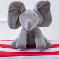 Plush Hide Elephant Dog Doll Play Música educacional Fale e cante Baby Music Toys Orelhas Flaping Move Interesting Doll 30cm