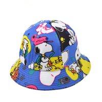 Wholesale Hot Dog Hat - Wholesale-2015 Graffiti dog cartoon logo hot sale design fashion cotton bucket hat sun hat visor cap outdoor leisure fisherman caps
