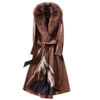 casacos de pele de raposa longos venda por atacado-