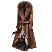 Wholesale Fox Fur Strips - Women Real Sheepskin Long Leather Coat with Real Fox Fur Collar F271 Sheepskin Coat Women 3 Colors