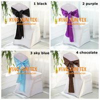 Wholesale White Satin Banquet Chair Covers - Banquet White Color Lycra Spandex Chair Cover With Satin Chair Sash For Wedding Decoration Free To Door Shipping