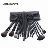 Wholesale 18 Piece Makeup Brush Set - Chileelove 18 Piece Matte Black Brown Fashion Makeup Brush Kit Professional Makeover Cosmetic Tool Wood Handle Makeup Brushes with Bag