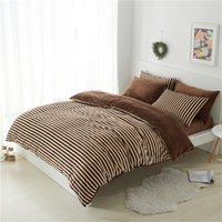 Wholesale King Fleece Sheet Set - Wholesale- coffee stripe fleece thick bedding set twin queen king size winter warm bed cover duvet cover set bed fit sheet christmas gift