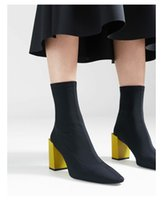 Black Stretch Sock Boots Mulheres Square Toe Yellow Chunky High Heel Shoes Mulher Ankle Boots 2018 Novas Mulheres Runway Shoes Short Booties Zapatos