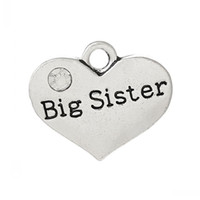 "Wholesale Big Sister Silver Charm - Jewelry Findings Charm Pendants Heart Antique Silver ""Big Sister""Carved Clear Rhinestone 17mm x 14mm,20PCs"