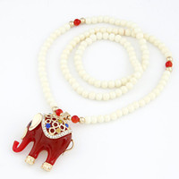 Wholesale Asian Sweater Women - Fashion Classic Lucky Elephant Pendant Necklace Beads Chain Long Necklace Sweater Chain Necklace for Women