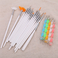 Wholesale Nail Art Gel Pen - Fashion Painting Dotting Detailing Nail Pen Brushes Bundle Tool Kit Set with Case nail tools Nail Art Pen 20pcs set H13153
