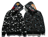 Wholesale Short Cardigan Buttons - sweater luminous Star Shark long-sleeved hooded jacket hip-hop men's sweater cardigan hoodies sports and leisure street hoodies