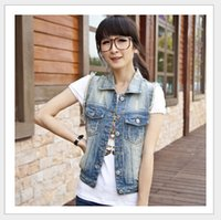 Wholesale Cowboy Women Vests - New 2015 fashion women cowboy Vest women vest spring summer sleeveless denim vest plus size YA45