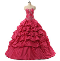 quente rosa vestidos quinceanera ruffled venda por atacado-Maravilhoso Rosa Quente / Azul Doce 16 Meninas Masquerade Prom Vestido de Baile Com Bordado Lantejoula Frisado Babados Barato Quinceanera Vestidos