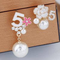Wholesale imitation flowers - 2016 Brincos Crystal Asymmetry Stud Earrings Fashion Jewelry For Women Statement Imitation Pearl Earrings Jewelry