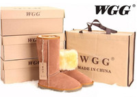 Wholesale classic chestnut - High Quality WGG boot Women Australia Classic kneel Ankle Boots Black Grey chestnut blue girl lady tall Winter Snow shoes US 4--11