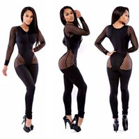 Wholesale Hot Fishnet Dresses - 2017 Hottest Sexy Top Bandage Jumpsuit Bodysuit For Women Black Fishnet Leather Bodycon Party Dress Club Wear Romper Bandage Jumpsuits TS609