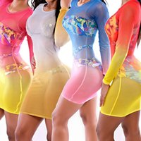 vestido de terno amarelo venda por atacado-Mulheres Vestidos Para Praia Colorful Full Sleeve Beach Cover Ups Bainha Bodycon Pareo Mulheres Túnica Swimsuit Bainha Rose Yellow