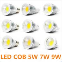 mr16 soğuk beyaz toptan satış-LED COB Işık 5 w 7 w 9 w Sıcak / Saf / Soğuk Beyaz MR16 GU10 E27 GU5.3 LED Ampuller Led İş Işık Süper Parlak Led