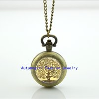 Klimt Tree Of Life Pocket Watch Floating collana di memoria Locket Vintage Orologio da tasca Collana argento WT - 00141