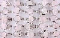 Wholesale Tin Rose Jewelry Box - Fashion 25Pcs Mix Style Natural Rose Quartz Stone Silver plated rings Unisex hot jewelry size 6-9 Box not Include Free