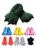 Wholesale Black Bear Paw Slippers - Wholesale-2Pcs lot Adult Monster Foot Bear Paw Men Women Cartoon Plush Animal Kigurumi Cosplay Pajamas Slippers Paw Claw Shoes Indoor Shoe