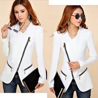 "Wholesale Shrug Pads - Women""s Zipper Jacket Padded Shrug Shoulder Long Sleeve Slim Suit Blazer [JG]"