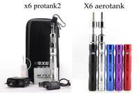 Wholesale X6 Vaporizer Kits - EGO X6 Pyrex Glass Protank 1 protank2 protank3 aerotank V2 e cigarette starter kit with Protank atomizer x6 vaporizer voltage ecig