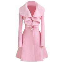 abrigos de lana largos negros para mujer al por mayor-Moda mujer LANA abrigo largo cálido Outwear Rosa Blanco Negro Tamaño M-XXL