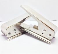 cortador de tarjeta sim estándar al por mayor-Cortador de tarjeta Sim Nano para iPhone 5 6 Plus iPad Cortador de Mini Simcard Cut Any GSM Sim en Nano o cualquier Micro Sim estándar en Nano Sim