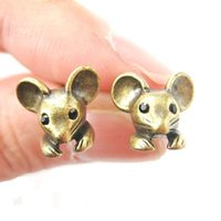 Wholesale Realistic Mouse - Min 1pc 2015 New Fashion Mouse Mice Realistic Animal Stud Earrings for Women ED106