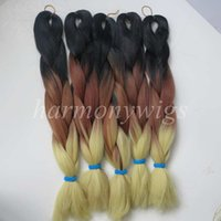 Wholesale blonde synthetic hair weave online - kanekalon jumbo braid hair inch g Black Coffee Brown Blonde Ombre Three tone Color Xpression Synthetic Braiding Hair Extensions