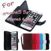 étui en cuir iphone5 achat en gros de-Pour iPhone5 6 6 plus cas Couverture Portefeuille En Cuir PU Housse De Protection Avec Fente Pour Cartes Cadre Photo Pour Samsung S6 Edge Note4