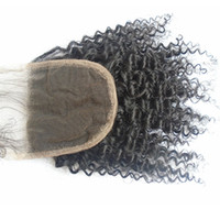 Wholesale Afro Hair Party - Cheap Mongolian Afro Kinky Curly Lace Front Closure 4*4 inch Free Middle 3 Part Bleached Knots With Baby Hair Unprocessed Virgin Human Hair
