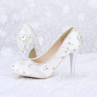 Wholesale Pageant Slips - 2016 Crystal Wedding Shoes White Satin Color Banquet Pageant Dress Shoes Round Toe Platforms Women Shoes Valentine Party Pumps