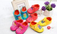 Wholesale Colored Plastic Fabric - 2015 candy-colored soft-soled baby toddler shoes PU fabric 11CM 12CM 13CM 0- 18 months children spring & autumn shoes 6pair 12pcs B23