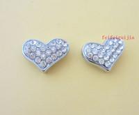 Wholesale Dog Collar Heart Charms - 10mm full rhinestone heart slide charms zinc alloy fit 10mm belt pet dog cat collars