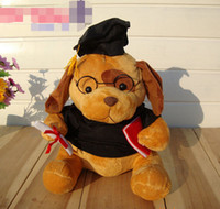 Wholesale Kids Gift Wear - 23cm 38cm Cute graduate bear wearing spectacles plush doctor bear dogs graduation dog gift