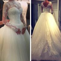 Wholesale Vintage French Beads - Modest Lace Ball Gowns Wedding Dresses 2017 Long Sleeve Retro French Lace Winter Charming Bridal Gowns Arabic Dubai Vestido De Novia