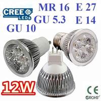 Wholesale High Power Cree 12w 4x3w - High power CREE 12W 4x3W Dimmable GU10 MR16 E27 E14 GU5.3 Led Light Lamp Spotlight led bulb Warm Cool Pure White Energy Saving Super Bright